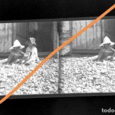 Fotografía antigua: NEGATIVO DE FOTOGRAFÍA. CERCANÍAS BADALONA.BARCELONA.PLACA CRISTAL ESTEREOSCÓPICA. Lote 214376376