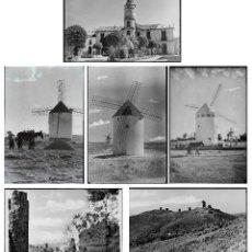 Fotografía antigua: CASTILLA LA MANCHA SEGURAMENTE, MOLINOS Y IGLESIA DE PUEBLO. LOTE DE 6 NEGATIVOS CRISTAL 11X15,5 CM.. Lote 215952293