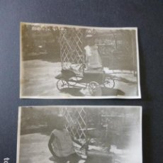 Fotografía antigua: MADRID NIÑA CON COCHE DE JUGUETE A PEDALES 2 ANTIGUAS FOTOGRAFIAS 5 X 9 CMTS. Lote 216891152