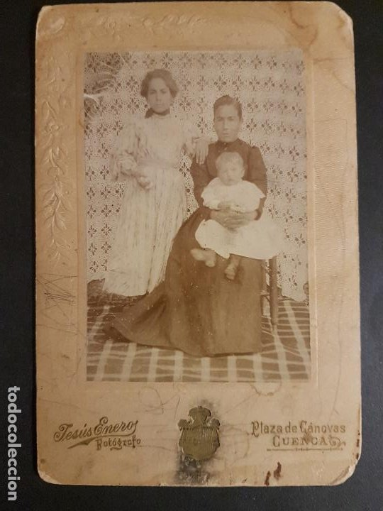 CUENCA RETRATO DE MADRE E HIJOS JESUS ENERO FOTOGRAFO HACIA 1900 10 X 15 CMTS (Fotografía Antigua - Gelatinobromuro)