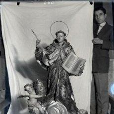 Fotografía antigua: ALCOY NEGATIVO CRISTAL SAN BUENAVENTURA DEL ESCULTOR TORREGROSA TAMAÑO 12 X 18 CM.. Lote 222384292