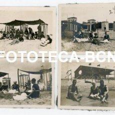 Fotografía antigua: LOTE 4 FOTOS ORIGINALES DIA EN LA PLAYA BAÑISTAS CASETAS POSIBLEMENTE COSTA BRAVA CATALUNYA AÑOS 20. Lote 224060105