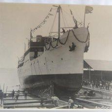 Photographie ancienne: UNION NAVAL DE LEVANTE VALENCIA BARCO GENERAL SANJURJO 1 AGOSTO DE 1928 BOTADURA TAMAÑO 17 X 23 CM.. Lote 228717995
