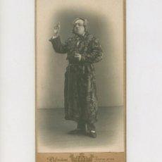 Fotografía antigua: ACTOR POR IDENTIFICAR, TEATRO PRINCIPAL, 1906. FOTO: RAFAEL AREÑAS, BARCELONA. 8X16 CM.. Lote 237205430