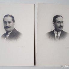 Fotografía antigua: RETRATO DE HOMBRE, DOS POSES EN LA MISMA SESIÓN. KÁULAK, FIRMA MANUSCRITA.. Lote 243354720