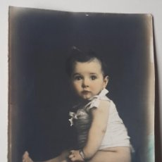 Fotografía antigua: RETRATO DE NIÑA, COLOREADO A MANO.. Lote 243965280