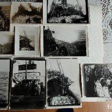 Fotografía antigua: T-679.- LOTE DE -- 10 -- FOTOGRAFIAS DE -- DIA DE PESCA -- PESCADORES FAENANDO , VARIAS MEDIDAS ,. Lote 257490945