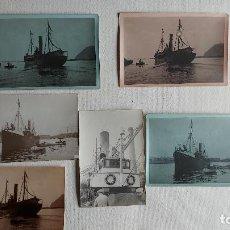 Fotografía antigua: T-681.- LOTE DE -- 6 -- FOTOS DEL PESQUERO-- VILLA DE CEE -- EN EL PUERTO DE BARCELONA , VARIAS MEDI. Lote 257493715