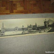 Fotografía antigua: SEVILLA, ESPECTACULAR FOTOGRAFÍA PANORÁMICA DE 112X27,7 CM. PLAZA DE ESPAÑA. FOTO JULNAY, 1929. Lote 260013045