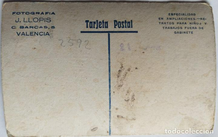 Fotografía antigua: VALENCIA FOTOGRAFO J. LLOPIS TAMAÑO POSTAL CARTON DURO COLOREADA - Foto 2 - 279371558