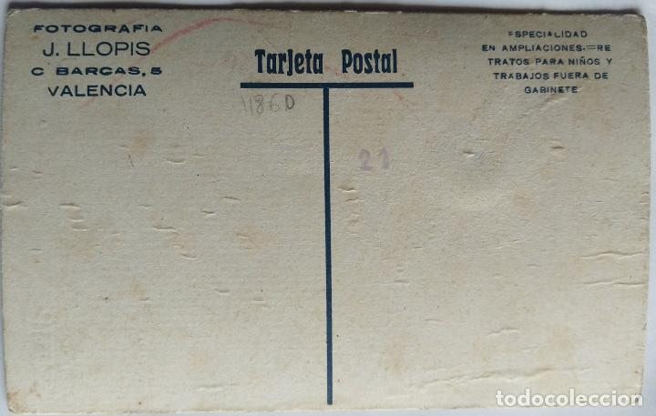 Fotografía antigua: VALENCIA FOTOGRAFO J. LLOPIS TAMAÑO POSTAL CARTON DURO COLOREADA - Foto 2 - 279371588