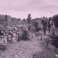 Fotografia antiga: HUESCA. PUEBLO DEL PIRINEO. BURRO, VISITANTES Y LUGAREÑOS. MUJER LAVANDO. C.1920. Lote 286901908