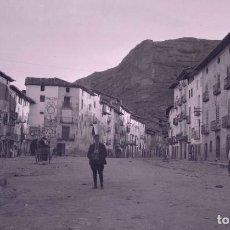 Photographie ancienne: HUESCA. PUEBLO O CIUDAD MEDIANA. CALLES ANUNCIOS. C.1920. Lote 286954988