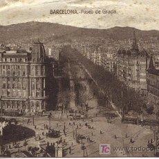 Fotografía antigua: TARJETA POSTAL ANTIGUA DE BARCELONA. (CALLE PASEO DE GRACIA). Lote 22652089