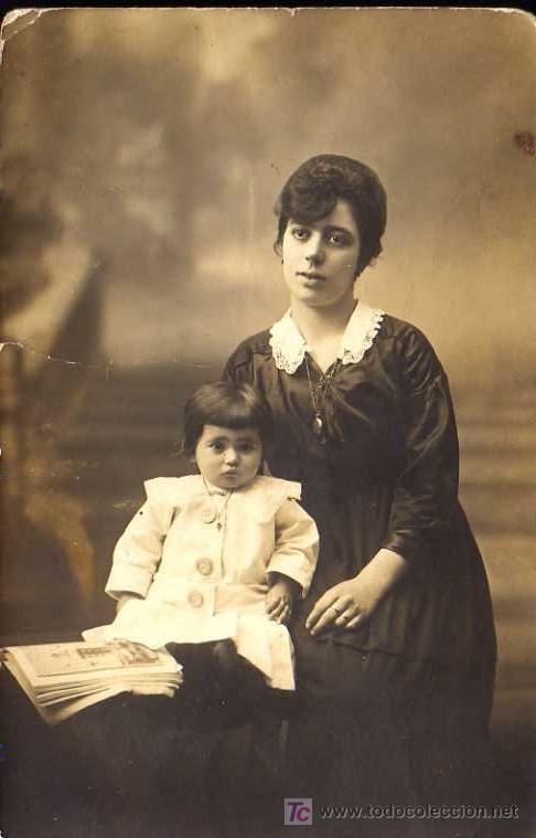 FOTOGRAFIA- TARJETA POSTAL - MADRE E HIJO (Fotografía Antigua - Tarjeta Postal)