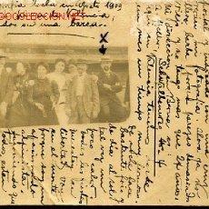 Fotografía antigua: TARJETA POSTAL FOTOGRAFICA HECHA EN AGOSTO DE 1909 EN LA PLAYA DE VALENCIA SENTADO EN UNA BAREA. Lote 14179174