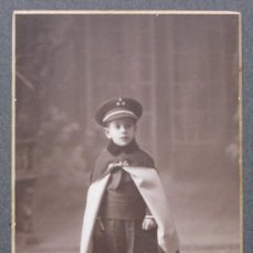 Fotografía antigua: NIÑO CON DISFRAZ DE MILITAR. F: PELLICER. BARCELONA. CIRCA 1920. Lote 11362299