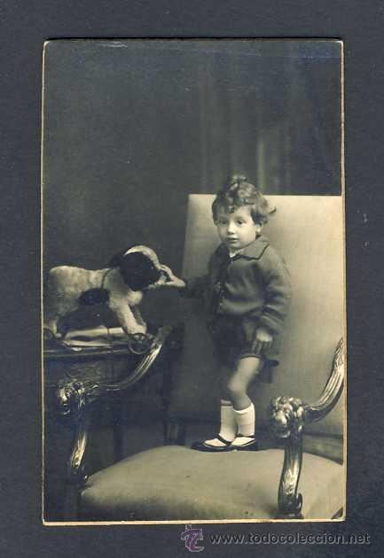 FOTO-POSTAL: NIÑO CON JUGUETE (FOTO DE AMERICAN ALOGRAFF DE BARCELONA) (Fotografía Antigua - Tarjeta Postal)