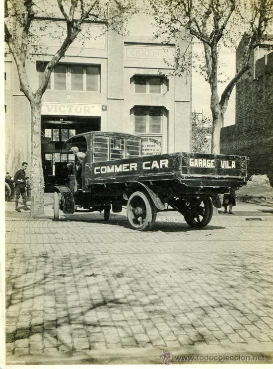 FOTOGRAFIA DE COCHE ANTIGUO PUBLICITARIO COMMER CARD GARAGE VILA DE BARCELONA (Fotografía Antigua - Tarjeta Postal)