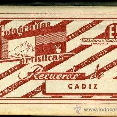 Fotografía antigua: FOTOGRAFIAS ARTISTICAS RECUERDO DE CADIZ. ZARAGOZA, ED. SICILIA. ALBUM CON 10 FOTOS. Lote 26498645