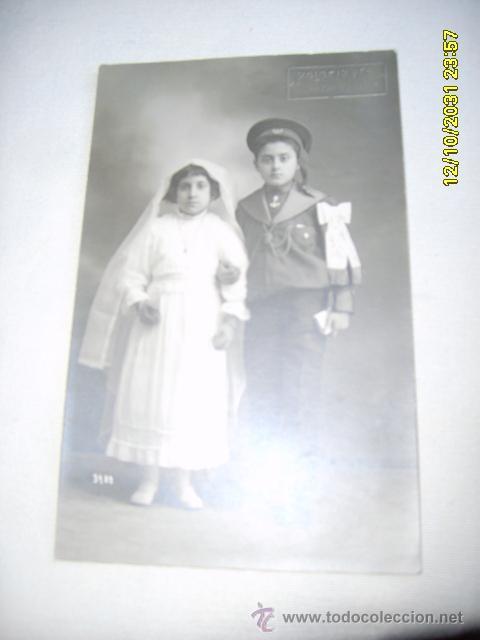 HERMANOS 1ª COMUNIÓN (Fotografía Antigua - Tarjeta Postal)