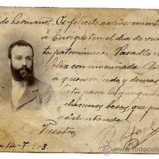 Fotografía antigua: RETRATO SEÑOR 1903 . Lote 22643743