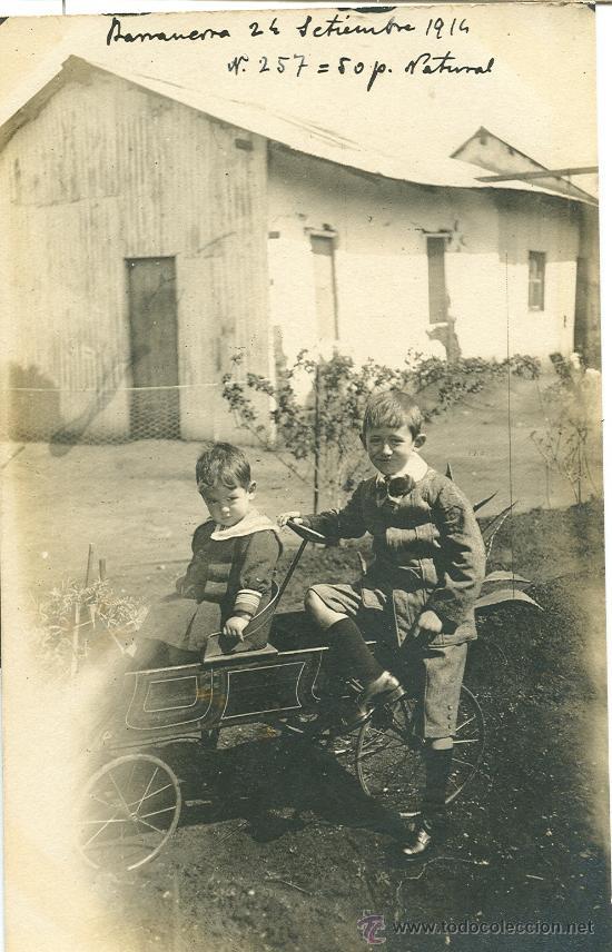 RABANERA. BURGOS. AÑO 1914. DOS NIÑOS CON UN COCHECITO DE JUGUETE. (Fotografía Antigua - Tarjeta Postal)