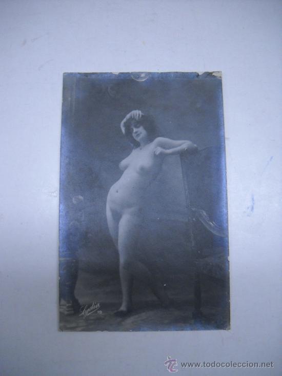 ERÓTICA.ANTIGUA FOTOGRAFIA DESNUDO FEMENINO FIRMADO ABAJO LIDIA 19 (Fotografía Antigua - Tarjeta Postal)
