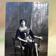 Fotografía antigua: FOTOGRAFIA, FOTO POSTAL, RETRATO DE MUJER, 14 X 8 CM, 1914. Lote 28610858
