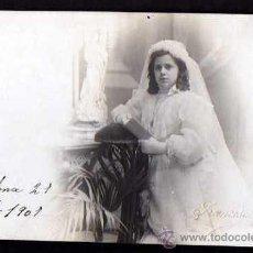 Fotografía antigua: NIÑA COMUNIÓN. FOTÓGRAFO FRANCISCO AMER. 1907. Lote 34148494