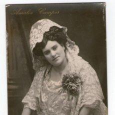 Fotografía antigua: AMALIA CAMPOS, ACTRIZ. POSTAL FOTOGRÁFICA, SELLO POR IDENTIFICAR.. Lote 37975659