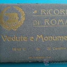 Fotografía antigua: LIBRILLO FOTO POSTAL RICORDO DI ROMA, VEDUTE E MONUMENTI, 20 POSTALES ( 20 CARTOLINE) SERIE II. Lote 38129319