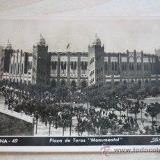 Fotografía antigua: TARJETA POSTAL CIRCULADA (AÑO 50) CON FOTOGRAFÍA ORIGINAL DE LA PLAZA DE TOROS DE BARCELONA. Lote 38662895