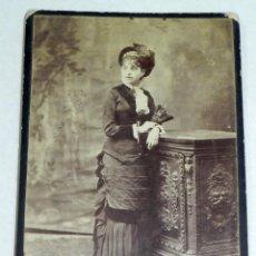 Fotografía antigua: ANTIGUA FOTOGRAFIA ALBUMINA DE MUJER DE SALAMANCA - FOTO OLIVAN - MIDE 16,5 X 10,5 CMS.. Lote 40724943