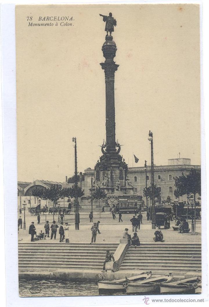 BARCELONA MONUMENTO A COLON (Fotografía Antigua - Tarjeta Postal)
