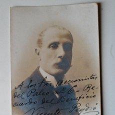 Fotografía antigua: TARJETA POSTAL DEL MUSICO VALENCIANO, VICENTE PEYDRÓ, FIRMADA Y DEDICADA 1910!!!!. Lote 43955637