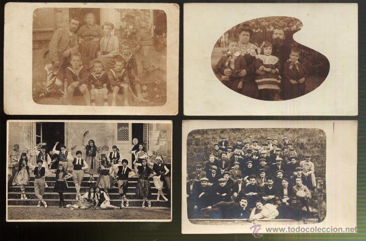 LOTE DE 4 TARJETAS POSTALES FOTOGRAFIAS DE GRUPOS (Fotografía Antigua - Tarjeta Postal)