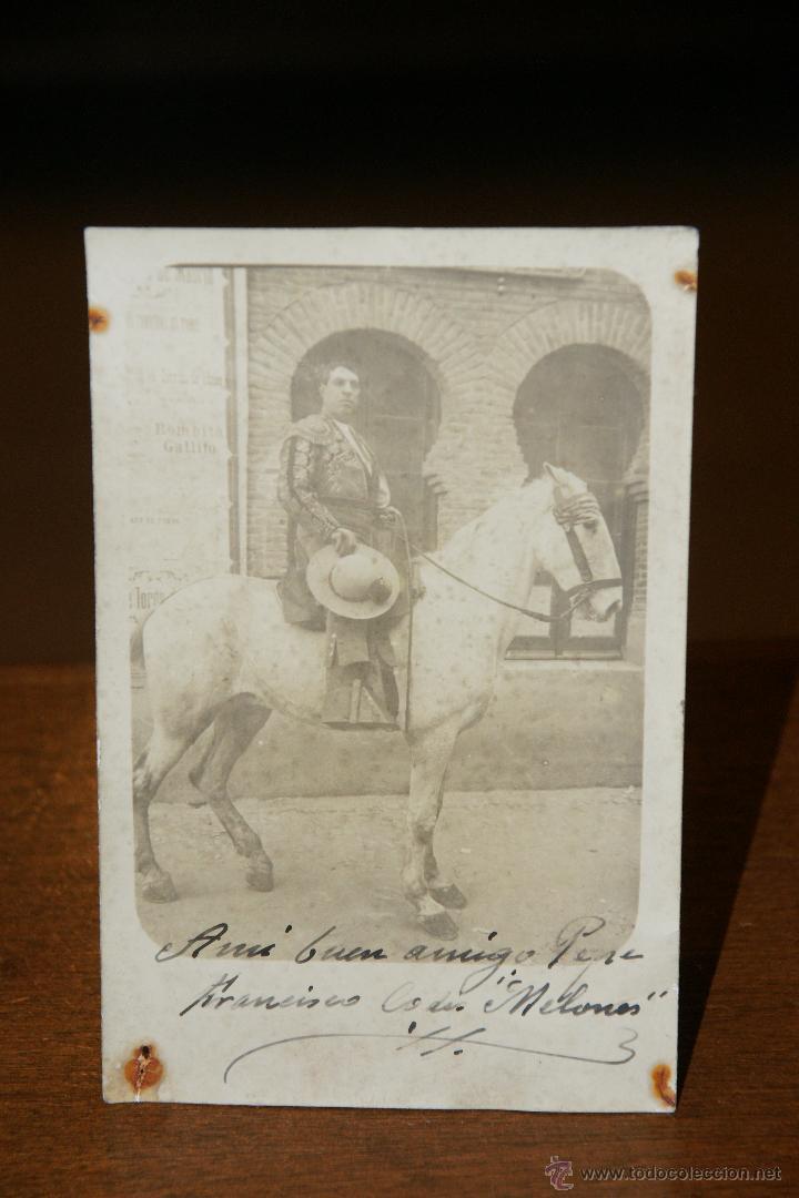 PRECIOSA FOTOPOSTAL DEL PICADOR MANUEL CODES MELONES - FIRMADA Y DEDICADA DE PUÑO Y LETRA (Fotografía Antigua - Tarjeta Postal)