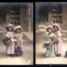 Fotografía antigua: 2 POSTALES FOTOGRÁFICAS NIÑAS . CIRCULADAS . Lote 46774986