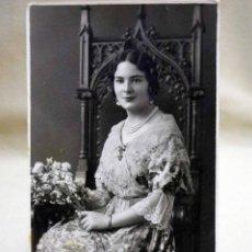 Fotografía antigua: FOTOGRAFIA ANTIGUA, TARJETA POSTAL, SEÑORITA, FALLAS, FALLERA, BOLDUM, VALENCIA, 1920S. Lote 46927866