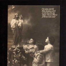 Fotografía antigua: POSTAL FOTOGRÁFICA. NIÑOS REZANDO. CIRCULADA 1919. Lote 49599437