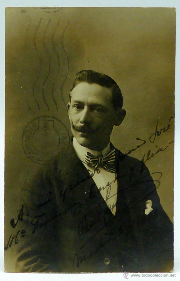 FOTO POSTAL CABALLERO BIGOTE PAJARITA RAYAS ESTUDIO YO MADRID CIRCULADA SELLOS 1916 (Fotografía Antigua - Tarjeta Postal)