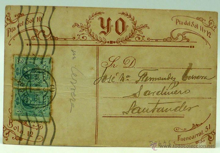 Fotografía antigua: Foto postal caballero bigote pajarita rayas estudio Yo Madrid circulada sellos 1916 - Foto 2 - 49636693