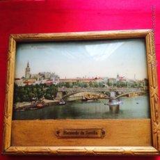 Fotografía antigua: POSTAL ILUMINADA PUENTE ISABEL II SOUVENIR SEVILLA (PALACIO NOVEDADES). Lote 49734209