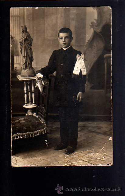 FOTOGRAFÍA ANTIGUA. NIÑO PRIMERA COMUNIÓN. FOTÓGRAFA AMERICANA. BARCELONA (Fotografía Antigua - Tarjeta Postal)