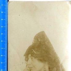 Fotografía antigua: BELLA TARJETA CON SEÑORA DE PERFIL Y MANTÓN ( SIN FOTÓGRAFO ) . Lote 50145828