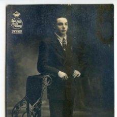 Fotografía antigua: RETRATO DE CABALLERO. FOTO HOJAS. SALÓN PRADERA. SANTANDER. Lote 50307370