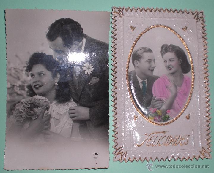 2 ANTIGUAS FOTOS,FOTO, FOTOGRAFÍA PAREJAS AÑOS 40 (Fotografía Antigua - Tarjeta Postal)