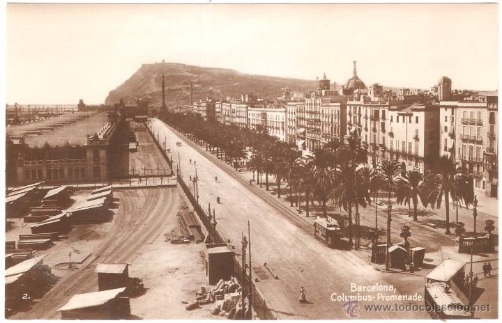 BARCELONA PASEO DE COLÓN (Fotografía Antigua - Tarjeta Postal)