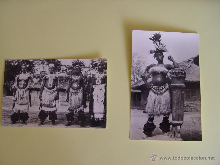 LOTE DE 2 TARJETAS POSTALES (1960'S) GUINEA (RÍO MUNI) (BAILARINAS) ¡SIN CIRCULAR! ¡ORIGINALES! (Fotografía Antigua - Tarjeta Postal)